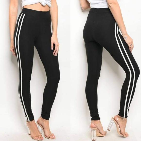 4c3ad21bbcd9f Fashion Nova Pants | Nwot Stripe Black High Waist Legging | Poshmark